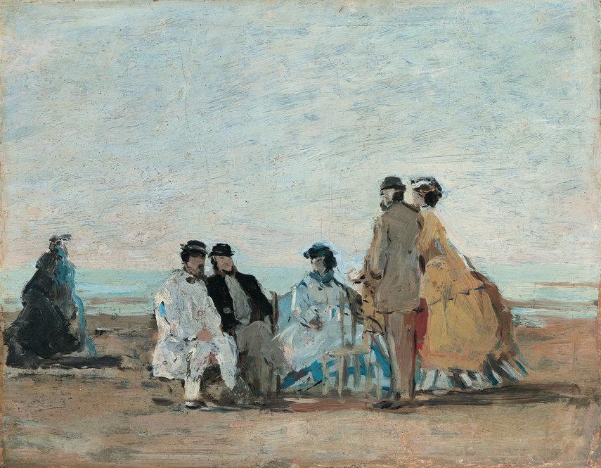 personnages sur la plage de trouville by eugne boudin 1865 boudin advised the young