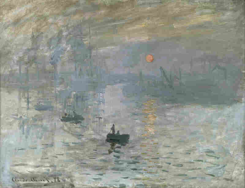 Impressionism: Sunrise, by Claude Monet, 1872. This painting is usually credited as the founding work of the Impressionist movement, with its sketchy brushstrokes and emphasis on lighting effects at the expense of human figures.