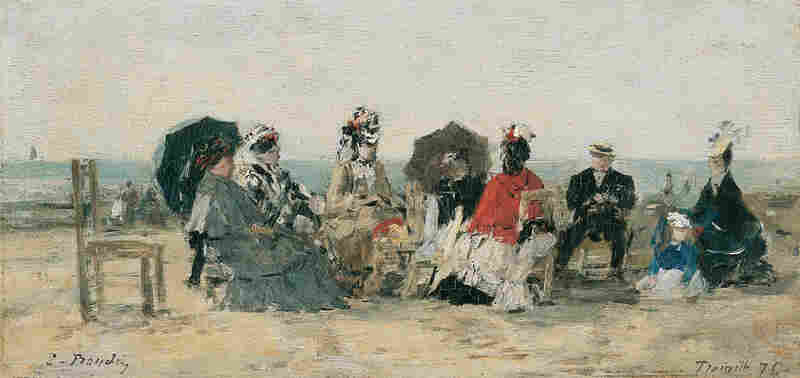 Conversation sur la plage de Trouville by Eugène Boudin, 1876. The incredibly prolific Boudin painted more than 800 pieces over the course of his career, the vast majority of which depicted beach scenes and ships.