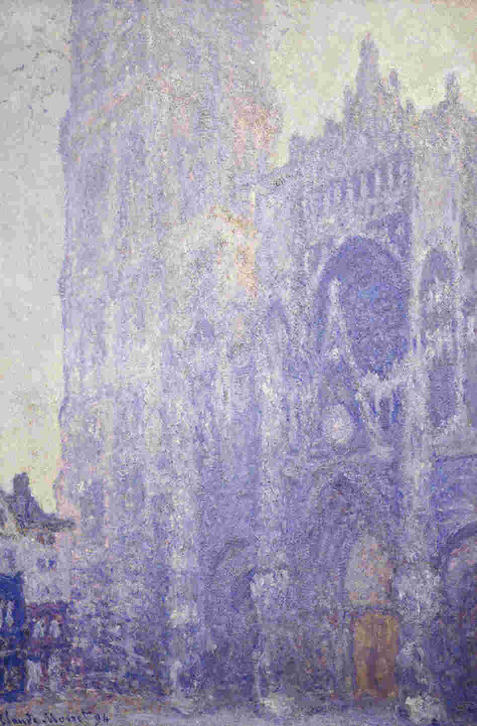 Rouen Cathedral in the Afternoon, by Claude Monet, 1894. Monet would usually work on the cathedral paintings from 7 in the morning until 6 or 7 in the evening, painting up to 10 canvases at once.