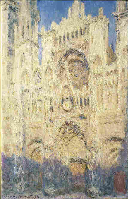 Rouen Cathedral doorway and tower in morning light, harmony in white, by Claude Monet, 1894. This is one of the 30 paintings of Rouen Cathedral that Monet worked on in the period 1892-1894. The artist focused on capturing the effect of light on the stone masonry at different times of day.