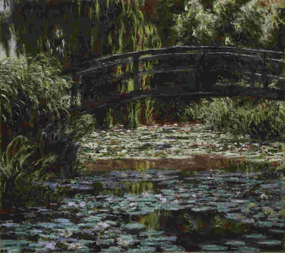 Water Lily Pond by Claude Monet, 1900. Monet loved the way light moved over the lily pond at Giverny, which is spanned by small green bridges.