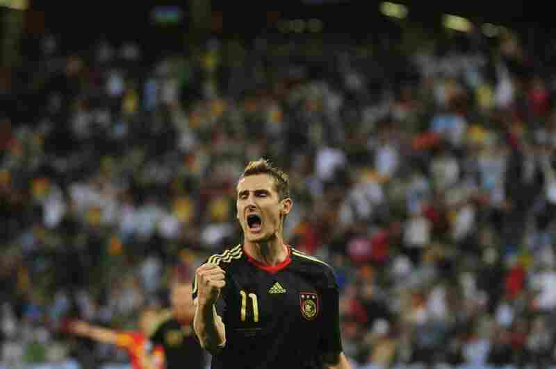 Germany's striker Miroslav Klose celebrates after scoring his team's fourth goal during the quarterfinal match against Argentina.
