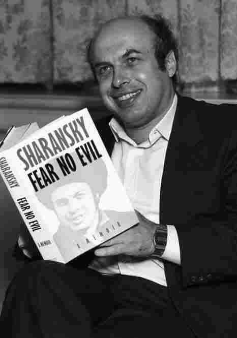 Israeli politician and author Natan Sharansky holds a copy of his book Fear No Evil in 1988. Sharansky was detained by the Soviets for espionage and exchanged for communist spies in a famous swap orchestrated by Wolfgang Vogel in 1986.