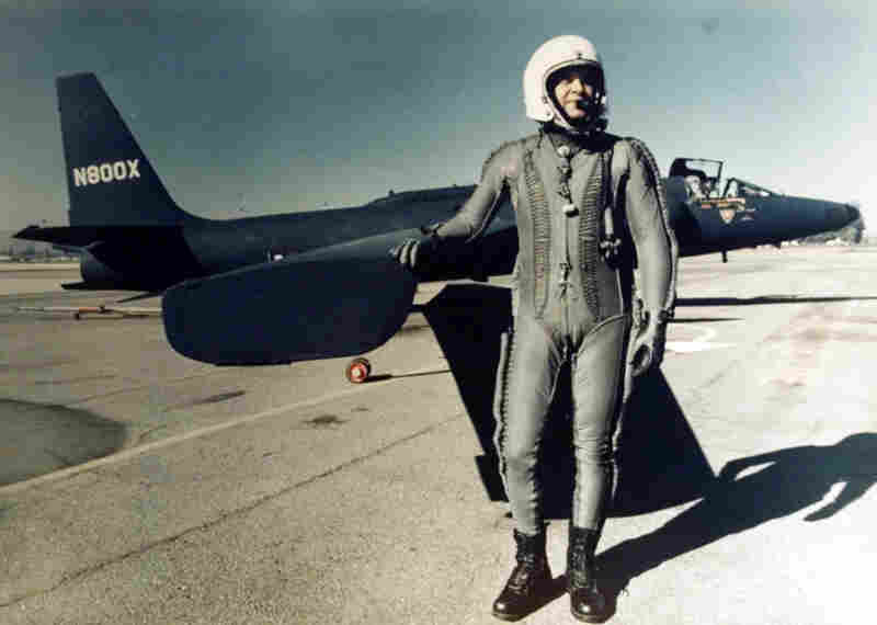 In this undated photo, U.S. pilot Francis Gary Powers, whose U-2 plane was downed by a Soviet anti-aircraft missile in 1960, stands in front of his plane in a pressurized flight suit. Powers was captured and later swapped for Rudolf Abel.