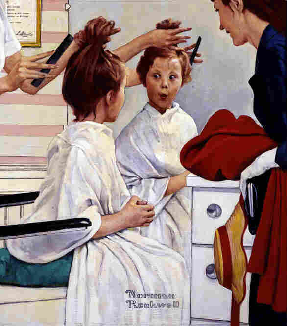 First Trip To The Beauty Shop by Norman Rockwell, 1972. Rockwell first conceived this image of a mother and daughter at a hairdresser's in 1918. For this 1972 painting, he tightened the focus to highlight the child's surprised expression at her newly adult hairstyle.