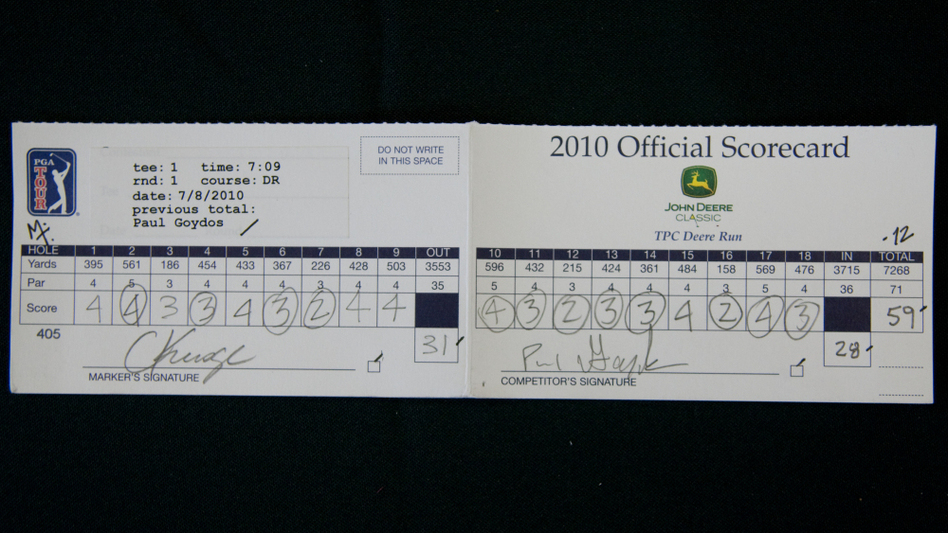 A photograph of the Paul Goydos' official scorecard from the first round of the John Deere Classic.