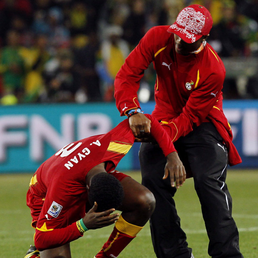 Asamoah Gyan cries after losing to Uruguay