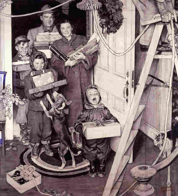 """Merry Christmas, Grandma... We Came In Our New Plymouth!"" by Norman Rockwell, 1950. Many companies were attracted to Rockwell's depictions of wholesome American values. This advertisement for the new Plymouth car has almost nothing to do with the car itself and could have been used for countless other products."