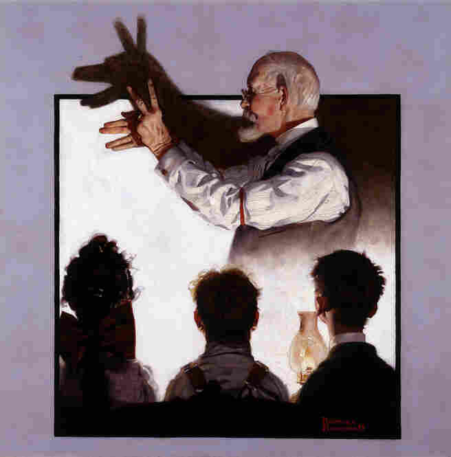 Shadow Artist by Norman Rockwell, 1920. This painting is very likely inspired by the pantomime shows that Rockwell attended as a child. Owner George Lucas was attracted to the painting for its cinematic qualities: a rapt audience in a dark room watching light move across the wall.