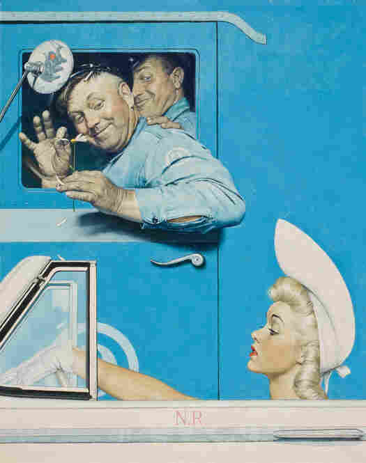 "The Flirts by Norman Rockwell, 1941. Rockwell accentuates the humor in this fleeting encounter between two very different parts of American society. Owner Steven Spielberg comments that the men's glances are ""totally innocent, completely moral,"" and ""at the same time, just naughty enough"" that you know they aren't ""total squares."""