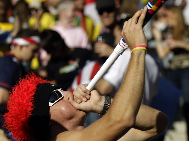Losing your hearing from the vuvuzela at the World Cup may be the least of your worries. (AP)