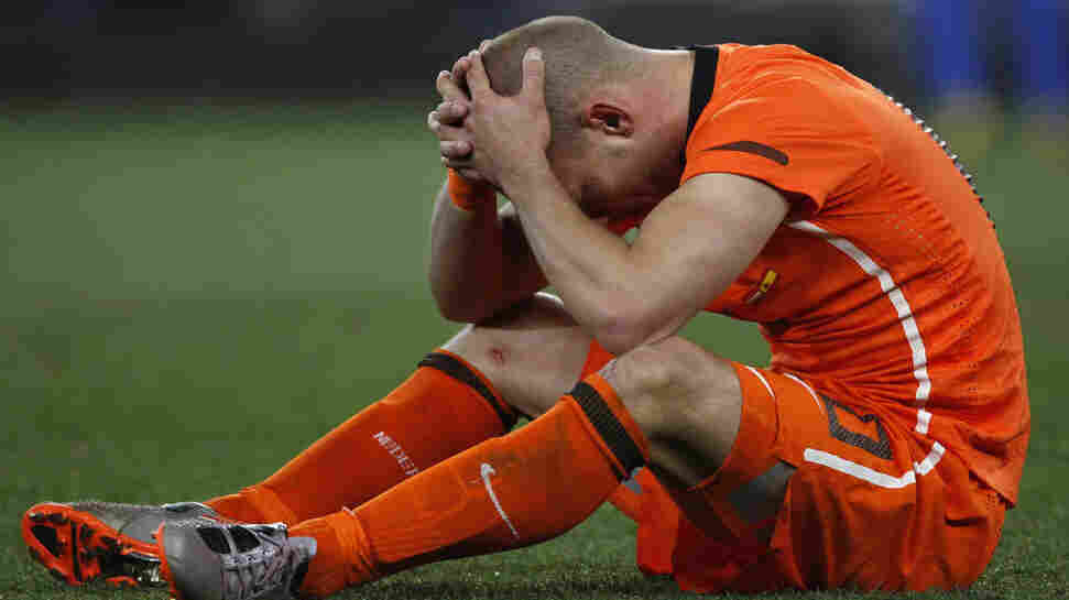 Netherlands' Wesley Sneijder after his team's loss to Spain in the World Cup 2010