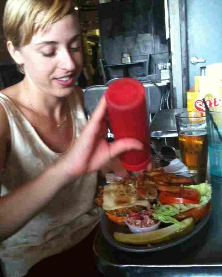 Eva and a portabello sandwich.