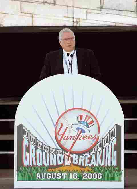 Steinbrenner speaks before breaking ground on a new $800 million stadium August 16, 2006, in the Bronx. The new Yankee Stadium opened in 2009, adjacent to The House That Ruth Built.
