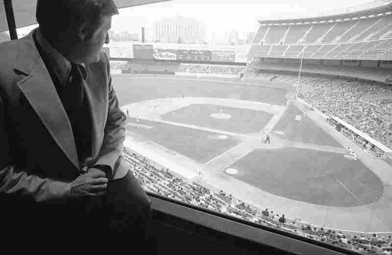 New York Yankees owner George Steinbrenner looks out over Yankee Stadium on April 20, 1977, in New York. Steinbrenner died Tuesday at 80.