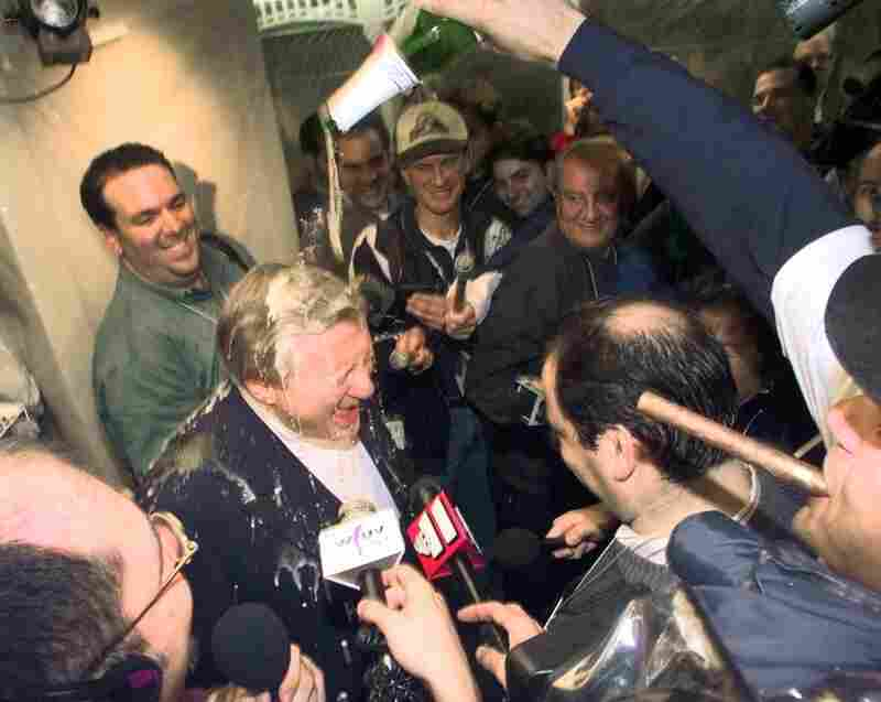 "Steinbrenner is doused with champagne by shortstop Derek Jeter after the Yankees won the American League Championship in 1998. ""Winning is the most important thing in my life after breathing,"" Steinbrenner often said. ""Breathing first, winning next."""