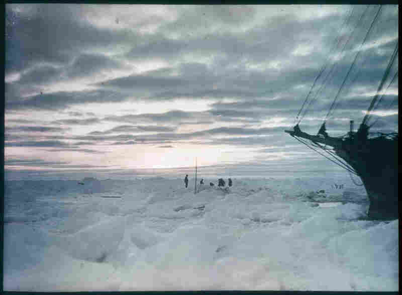 The bow of the Endurance is seen in this 1915 photo. An impenetrable ice field prevented the expedition team from reaching land.