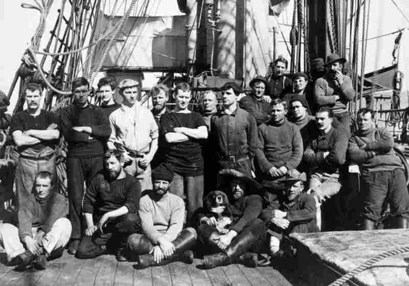 Crew of the Terra Nova expedition to Antarctica, in 1912 or 1913.