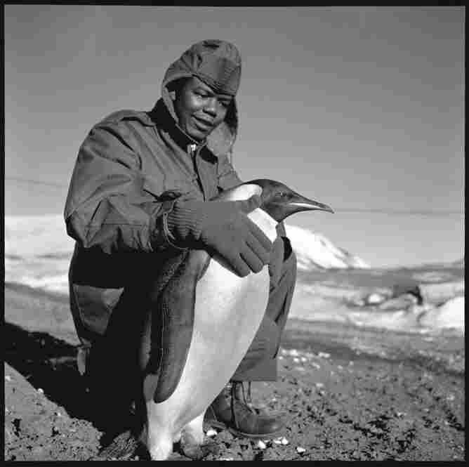 A visiting Emperor penguin with a member of the McMurdo base team