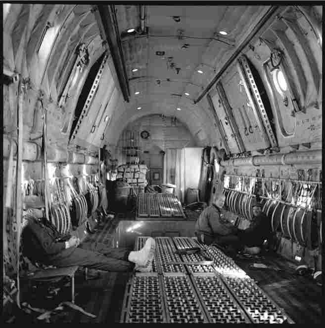 The cargo hold of the Globemaster after the drop at the Pole