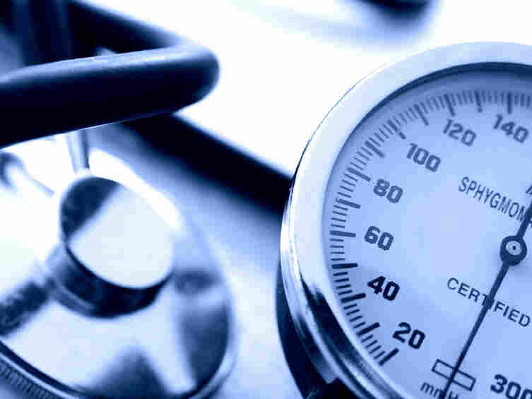 A blood pressure gauge and stethoscope