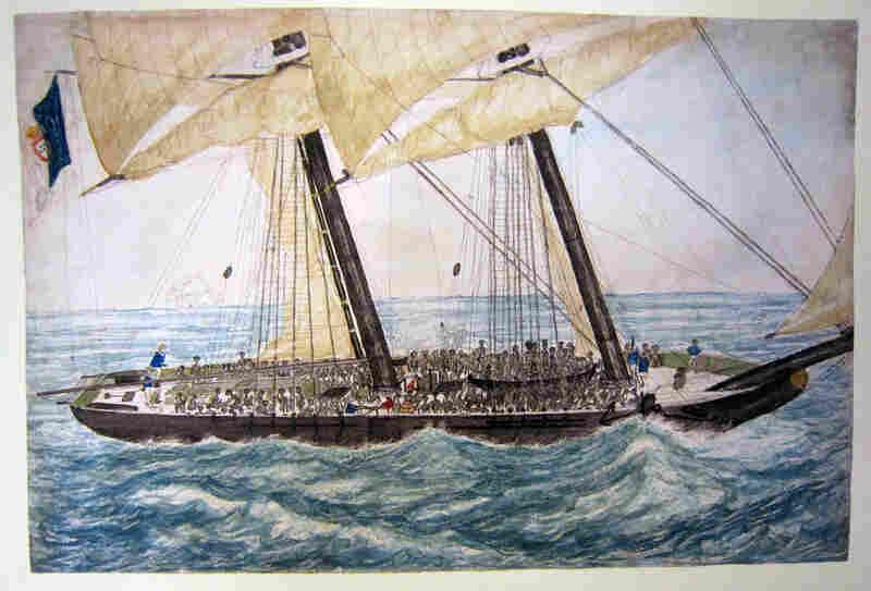Watercolor Of The Portuguese Slaver Diligente, 1838