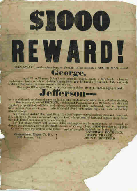 Wanted Poster For Runaway Slaves, 1840