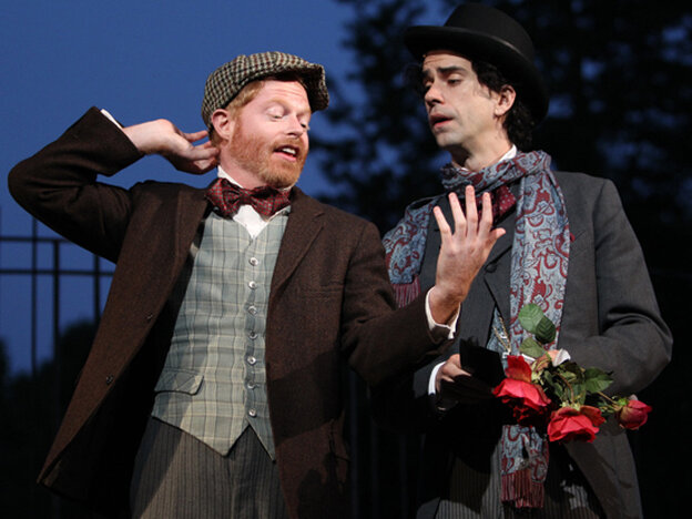 Jesse Tyler Ferguson and Hamish Linklater in The Merchant Of Venice