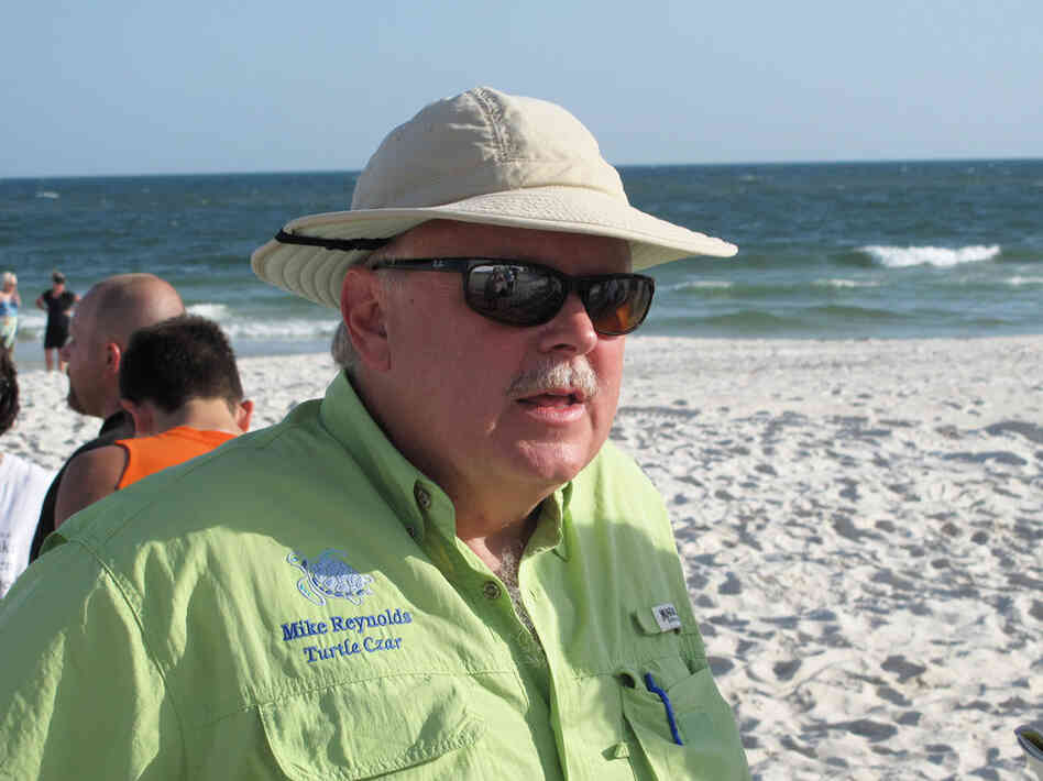 "Mike Reynolds is Alabama's ""turtle czar,"" directing the Share the Beach program. Three hundred volunteers comb the state's 47 miles of"