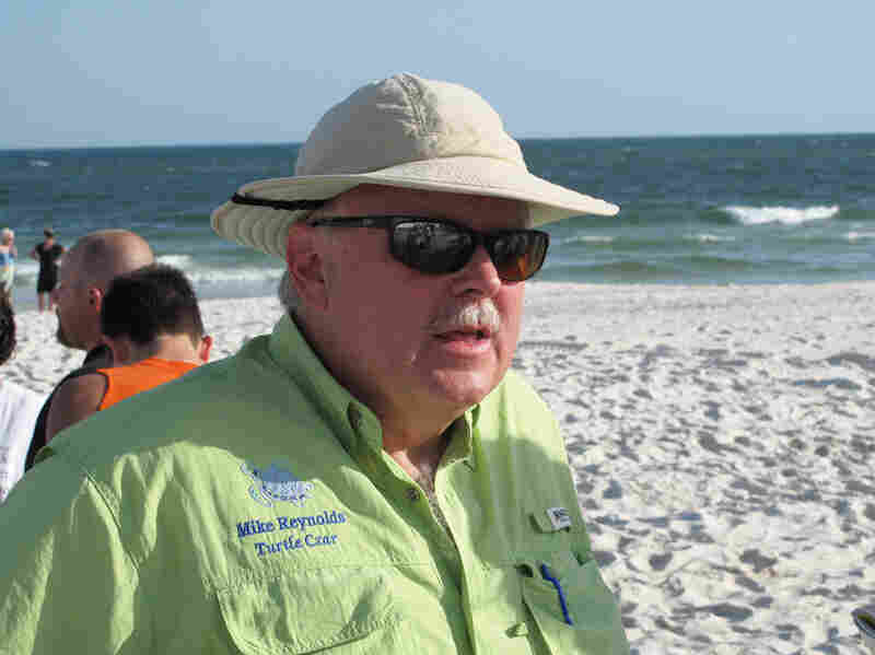 "Mike Reynolds is Alabama's ""turtle czar,"" directing the Share the Beach program. Three hundred volunteers comb the state's 47 miles of white sand beach, looking for turtle crawls – tracks left by females that return to the same beach each year to lay eggs."