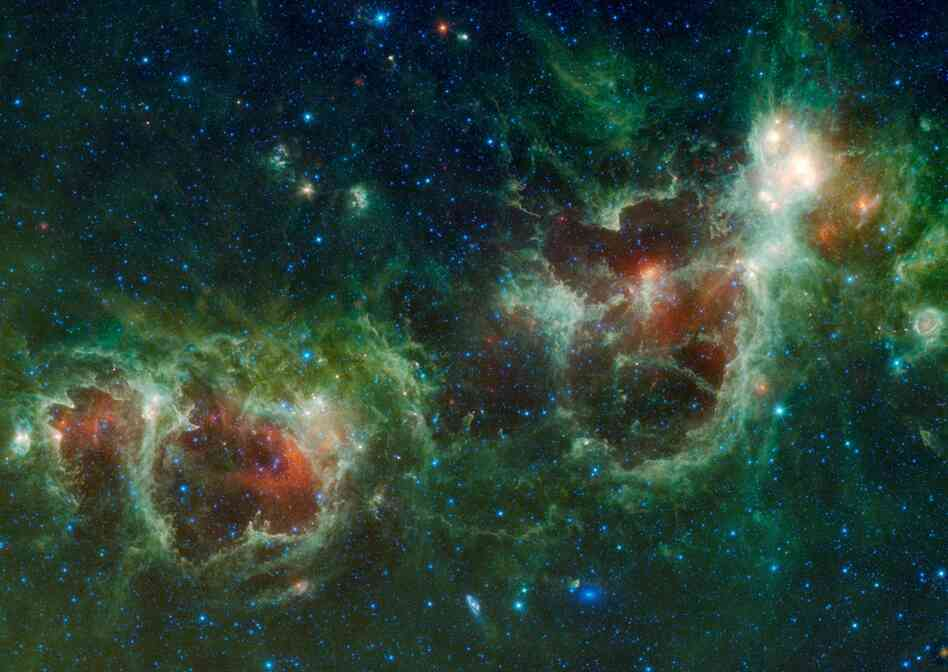 The image of the Heart and Soul nebulae in the constellation Cassiopeia covers an area of the sky over ten times as wide as the full moon and eight times as high. NASA's Wide-field Infrared Survey Explorer (WISE) completed its first survey of the entire sky on July 17.