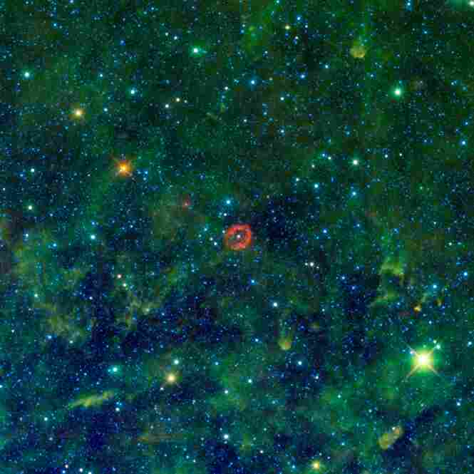 An exploding star appears red in this image captured by WISE, which snapped more than 1.3 million slides of the sky.