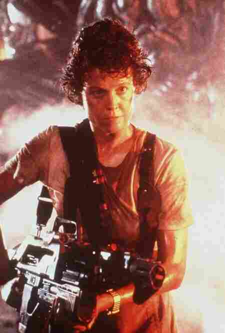 That distinction may belong to Sigourney Weaver, who in 1979's Alien proved women can be tougher than men when it comes to fighting extraterrestrials with acid for blood. Alien's producers intentionally made Ripley a woman to subvert science-fiction conventions — though the 1986 sequel backtracked by setting up a mechanized catfight between Ripley and the alien queen.