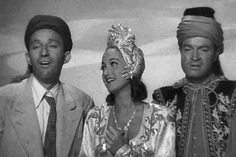 Bing Crosby, Dorothy Lamour and Bob Hope in Road to Morocco (1942), the third in their series of Road films.