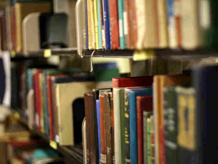 books in a library.