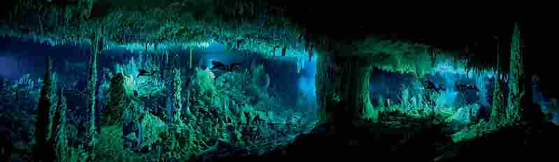 The Cascade Room, some 80 feet beneath the surface, leads divers deeper into Dan's Cave on Abaco Island.