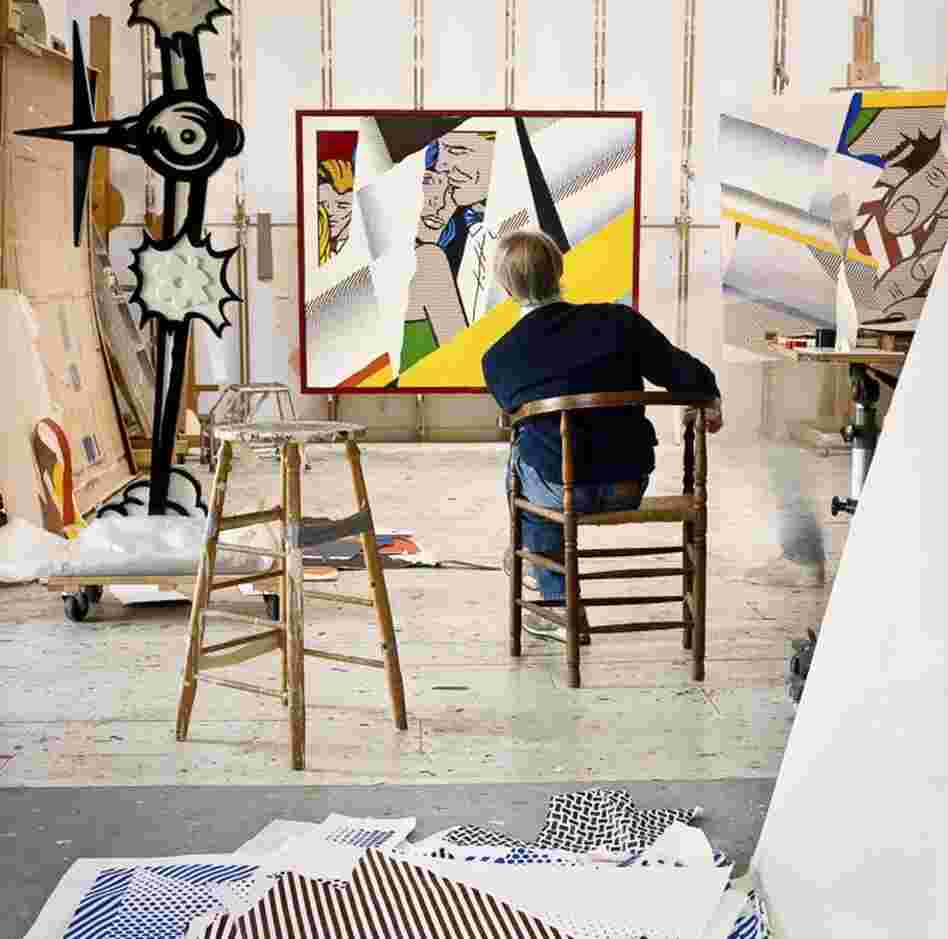 "Roy Lichtenstein in his Southampton studio. In the background, ""Reflections on the Prom,"" 1990"