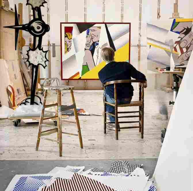 """Roy Lichtenstein in his Southampton studio. In the background, """"Reflections on the Prom,"""""""