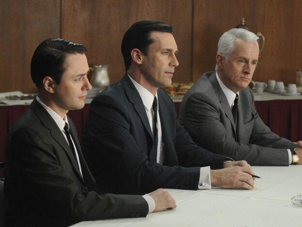 Vincent Kartheiser, Jon Hamm, and John Slattery of Mad Men