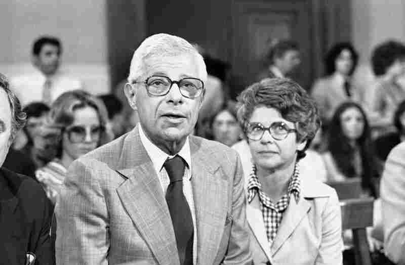Schorr appears before the House ethics committee in Washington, on Sept. 15, 1976. Schorr refused to tell the panel the name of the source who leaked a copy of a secret House Intelligence Committee report. Behind him is his wife, Lisbeth.