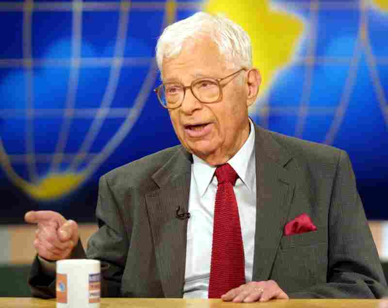 Schorr talks about his book Staying Tuned: A Life in Journalism, May 6, 2001, on Meet the Press at the NBC studios in Washington, D.C.