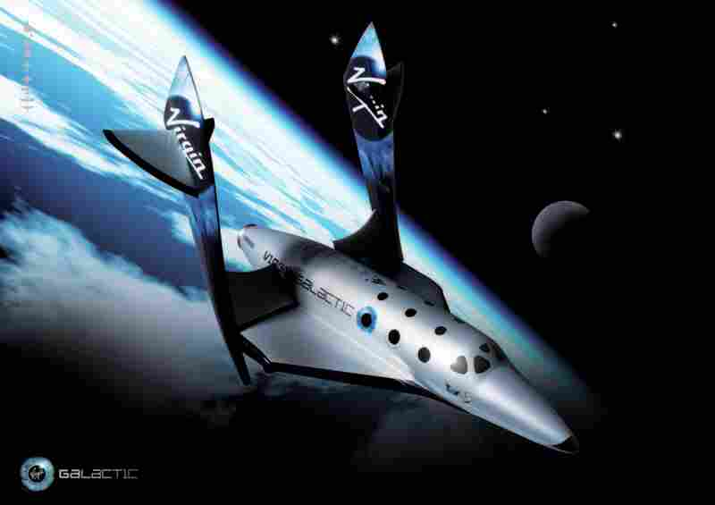 A rendering of SpaceShipTwo, with its wings pivoted to 65 degrees for reentry. The massive amount of drag this will cause should slow the ship down for easy reentry. Designer Burt Rutan has likened it to how a shuttlecock or a feather fall.