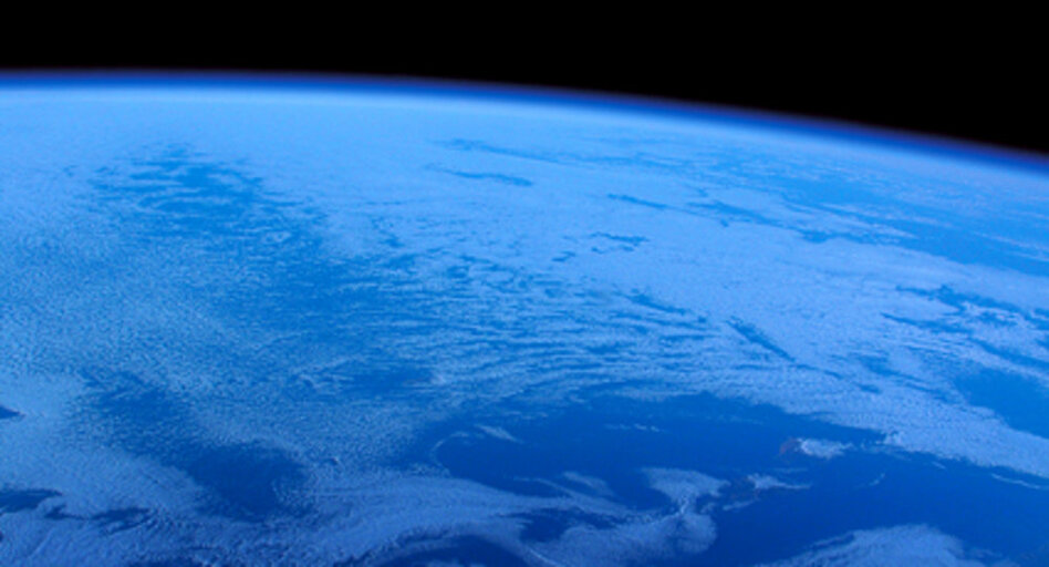 Earth, as seen from SpaceShipOne on October 4, 2004. The view from SpaceShipTwo should be similar.  (Virgin Galactic/NPR)