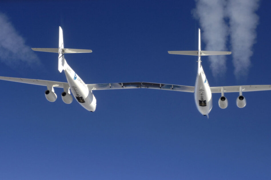 Most of the carbon footprint from Virgin Galactic's space flights will come from the mother ship, WhiteKnightTwo. Per passenger, the carbon footprint for one trip to space will less than that created by a flight from New York to London.  (Michael Fuchs/NPR)