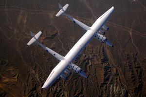WhiteKnightTwo's is the largest carbon composite plane in the world. Its wingspan is 140 ft and it's able to carry a 35,000-lb payload to an altitude of 50,000 ft.