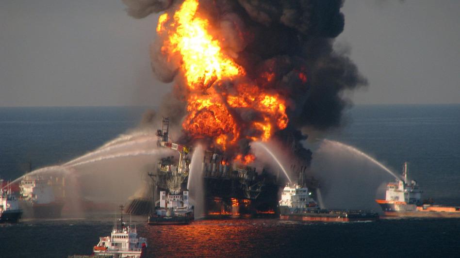 On April 21, Coast Guard fireboats battled the blaze at the Deepwater Horizon oil rig.