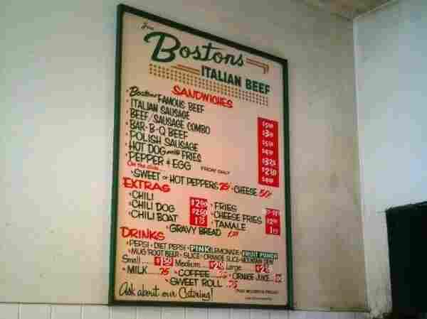 Photo of menu at Boston's Italian Beef.