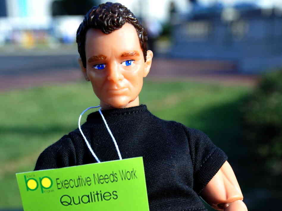 A Tony Hayward doll, one of the prizes t