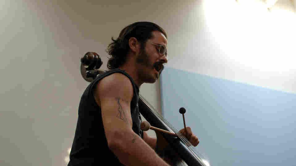Jason Ajemian performs at the New Atlantis Festival.